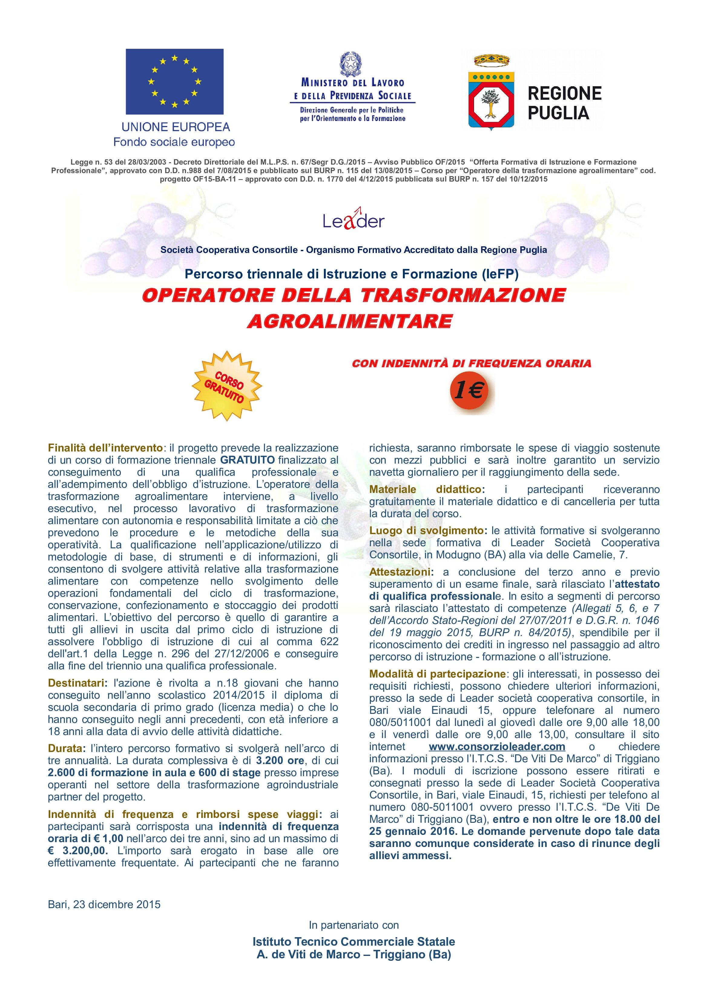 Operatore alla trasformazione agricola 2014