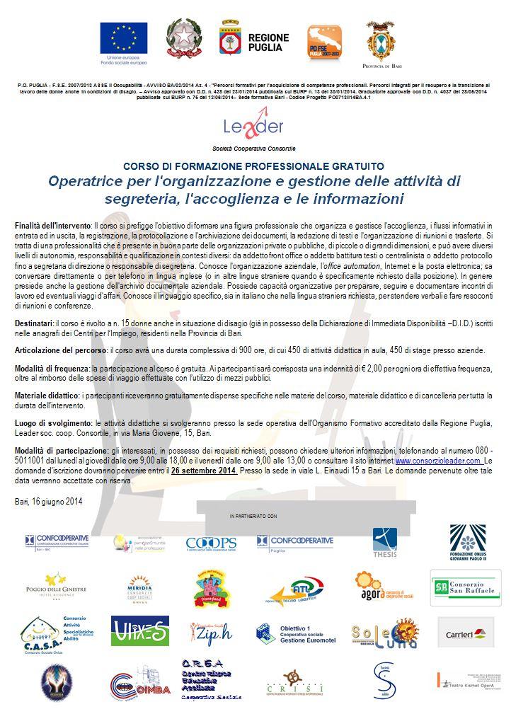 Operatrice per l'organizzazione e gestione delle attività di segreteria, l'accoglienza e le informazioni